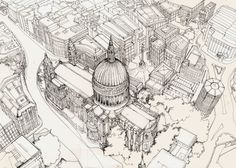 St Pauls drawn from above