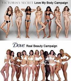 Victoria's Secrets vs Dove. Unrealistic and photoshopped vs. realistic and natural