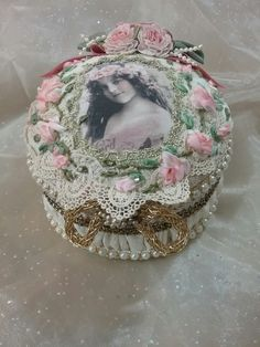 My altered stick pin holder box with hand embroidered silk ribbon roses