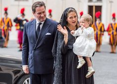 Princess Madeleine of Sweden, Christopher O'Neill and their daughter Princess Leonore, Queen Silvia of Sweden attends a meeting with Pope Francis on April 27, 2015 in Vatican City, Vatican.