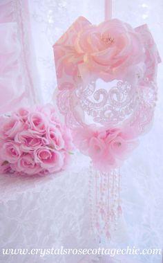 Romantic Shabby Chic Pink Damask Ornament. $12.88, via Etsy.