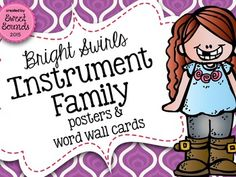 Bright Swirls Instrument Family {Posters and Word Wall Cards}Instrument family posters and word wall cards are a great addition to any music classroom! I use these word wall cards for small group centers, large group relays and individual assessment! I have also included a set without labels (plus the labels) to do matching.