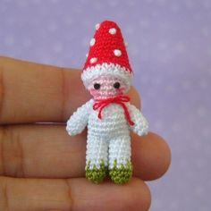 PDF PATTERN To Crochet a Miniature Toadstool Mushroom Boy