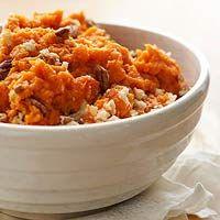 Mashed sweet potato recipe: Sweet Potato Casserole with Pecan Topping #thanksgiving #thanksgivingfood