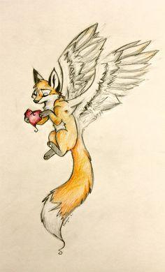 Fox with Wings Zorro Tattoo, Fox Tattoo, Animal Paintings, Animal Drawings, Cool Drawings, Fox Drawing, Wings Drawing, Art Plastic, Photo D Art