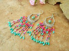 Boho Earrings Chandelier Earrings Fringe Seed Bead by BohoStyleMe