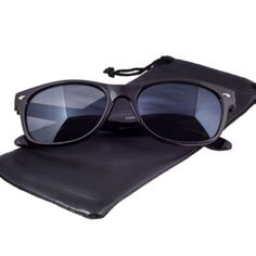 Black New Wayfarer Style Sunglasses The new wayfarer style sunglasses are our newest frame. They have a slightly lower profile than traditional wayfarers and come with a smooth glossy finish over a durable plastic frame. These black colored sunglasses come complete with UV400 protection lenses and are also available in tortoise, red and blue. Epic Brand Accessories Sunglasses