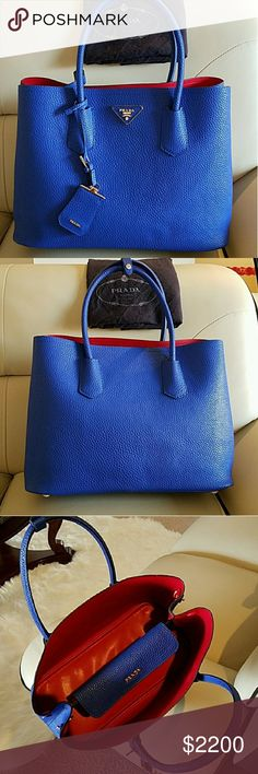 Ladies Prada Double Saffiano Leather Bag Saffiano leather Double leather handle Detachable adjustable leather shoulder strap Steel hardware Metal lettering logo on leather triangle Snap closure on sides One inside flap pocket Nappa leather lining   Sizes d. 7.0 h. 10.8 w. 14.0 inches Prada Bags Totes