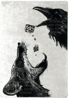 Larry Vienneau. - The fox and the crow (naar de fabel de vos en de raaf)