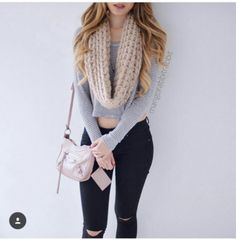 Grey and white crop top + black ripped jeans + cream scarf + blush purse