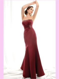 Mermaid Red Satin Mother Of The Bridal AMT0152