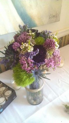 Wildflower purple bouquet thistle,lavender and moss