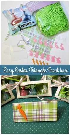These are my Easter triangle boxes I put together. They are super easy and fun to make! I found these cute Two Hearts Wedding Place Card Favor Boxes from #OrientalTrading the easter grass and chocolates are from target and I had some colorful scrapbook paper and glittery ribbon. So I added some pattern scrapbook paper on the inside and outside as well as adding a easter sticker and ribbon. Then I simply added three kisses chocolates and a few pieces of easter grass in the inside and your…