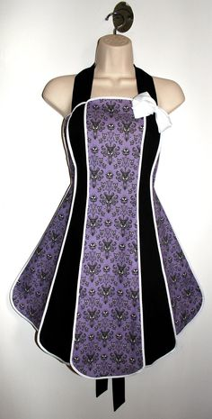 Haunted Mansion wallpaper vintage inspired stylist / kitchen apron by XO Skeleton Creations. $59.99, via Etsy.    :D