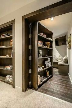 31 Insanely Clever Remodeling Ideas For Your New Home Would absolutely add secret rooms & one safe room with same hidden idea.one would be mine, all mine.to just hide & read! Safe Room, Style At Home, Home Fashion, My Dream Home, Dream Homes, Home Projects, Led Projects, Future House, Home Remodeling