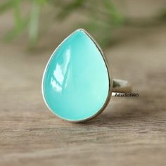 Aqua ring, Aqua blue chalcedony ring, Tear drop bold silver ring! Shop online: