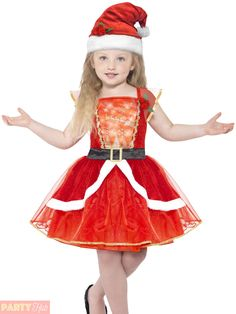e7deda603602 Girls Light Up Miss Santa Costume Childs Christmas Fancy Dress Kids Xmas  Outfit