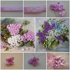 How to Make Embroidery Ribbon Lilac Flowers | iCreativeIdeas.com Like Us on Facebook ==> https://www.facebook.com/icreativeideas