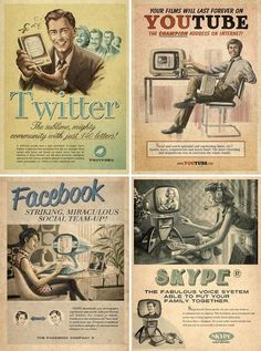 Vintage social networking Hilarious posters