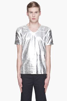 Maison Martin Margiela Silver Two-tone Painted T-shirt for men   SSENSE