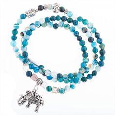 Blaues wickelarmband mit Elefanten Anhänger