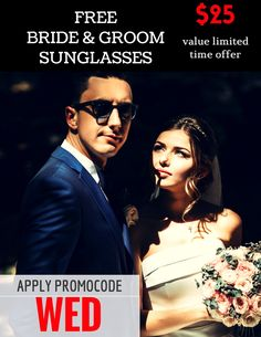 Get our Free Bride and groom logo Wedding sunglasses to rock your #weddingparty. Use our promo code WED with your custom order and romp home with a free pair of bride and groom #sunglasses, which will be shipped separately within 7- 10 business days.  #brideandgroom #wedding #freepair #freeshipping