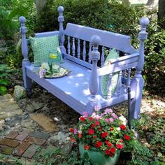 Garden Bench -- periwinkle blue -- perfect!