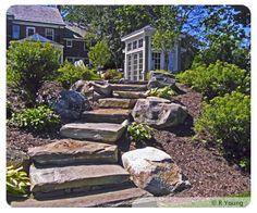 Natural stone steps.