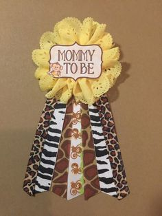 safari jungle monkey baby shower pin mommy to be pin flower ribbon pin corsage glitter rhinestone mommy mom new mom jungle animals