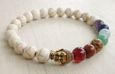 7 Chakra Healing Balance Bracelet Howlite Gemstone Yoga Mala Buddha Bracelet