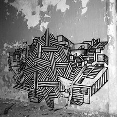 masking tape graffiti...what a great idea...I love the pattern.