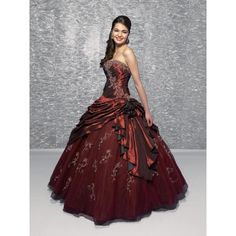 Burgundy Quinceañera Ball Gown Sweet Sixteen Dresses ❤ liked on Polyvore
