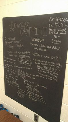 Could absolutely do this for any math topic...Literature Graffiti........post black paper on your classroom wall....have students write with silver Sharpie quotes that they love as you/they read throughout the year.