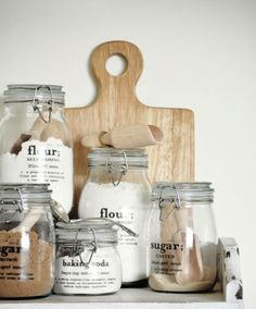 Uses for Mason Jars | Flour, Sugar, Brown Sugar & Baking Soda | Repinned from Sarah Trivuncic Maison Cupcake | Lovely Things In A Jar