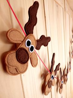 Felt And Ribbon Rudolph, Reindeers And Santa Christmas Bunting by Be Good, Darcey