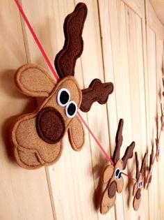 Felt And Ribbon Rudolf Reindeers And Santa