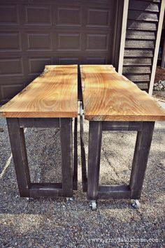 DIY Live Edge Oak Pub Tables - on wheels so that they can be positioned into a long bar or back to back into a pub table. Make wide enough that people could sit on both sides of one. Make a locking device to connect the two into one wide table. Bar Table Diy, Patio Bar Set, Pub Table Sets, Pub Tables, Outdoor Pub Table, Bar Table Design, Kitchen Tables, Bar Table Behind Couch, Canapé Diy