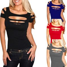 Sexy Womens Ripped Tops Cut out Off Shoulder T-shirt Blouse Punk Club Party Tee…