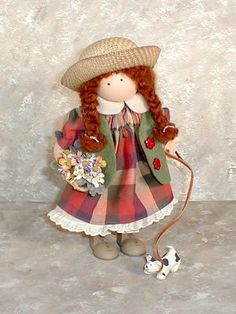 """Lizzie High wood doll """"Ginger"""" -  loves to walk her puppy on days that are sunny and nice...today she's wearing her favorite colors, a plaid in a sunny warm spice. Designed exclusively for The Longaberger Company in 2006"""