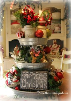 Christmas Centerpiece Idea   This 3 Tiered Tray From Samu0027s Club Was Filled  With Inexpensive
