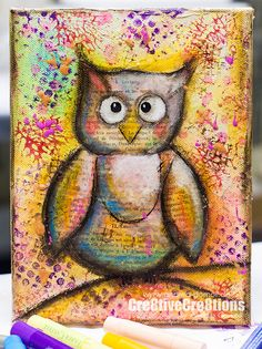 Mixed Media Owl Canvas with limited Supplies