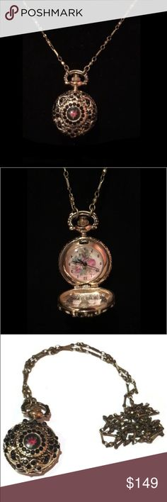 Michal Negrin- Nina Pocket Watch Necklace Time Pocket Nina Watch Necklace decorated with sparkling Swarovsky crystals and cameo. Nickel free brass Michal Negrin Jewelry Necklaces