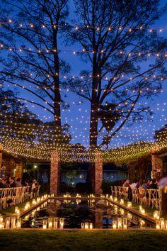 Space Wedding, Home Wedding, Wedding Reception, Wedding Venues, Dream Wedding, Church Wedding, Pool Wedding Decorations, Fairy Lights Wedding, Romantic Candles