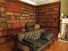 library at Hughenden Manor, 19th century English country house that was the home of prime minister Benjamin Disraeli between 1848 and 1881, High Wycombe, Buckinghamshire, UK