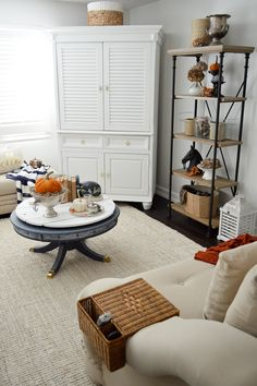 Easy Fall Decorating Ideas, featuring the @bhg farmhouse shelf, available exclusively at Walmart. (sponsored)
