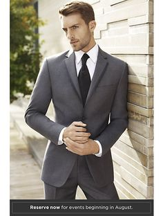 Vera Wang Two-Button Gray Super 120s Satin Edge Notch Lapel