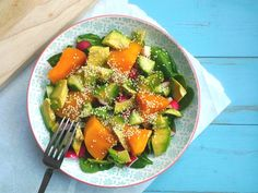 Simple and delicious. A nourishing grainfree nutrient dense salad topped with avocado and sesame for healthy fats, plus a sugarfree tamari dressing.