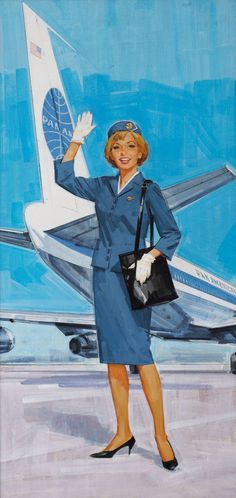 Pan American Stewardess c. 1960 with the first mass-produced commercial jet air transport: the ivonic Boeing 707.