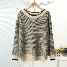 Black Tone Cut-out Design Contrast Colored Sweater $28.99