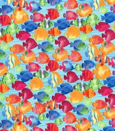Half metre canvas cotton fabric Cats on Fish riding the waves blue sea
